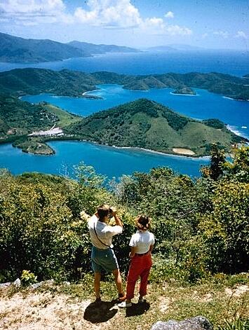 Caption from LIFE. On Bordeaux Peak, a short jeep drive from home, Lynches look across St. John to Tortola in distance. Alfred Eisenstaedt—The LIFE Picture Collection/Getty Images