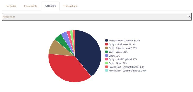 Smart account asset allocation view