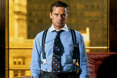 Image of Gordon Gekko, to quote his famous saying, greed is good