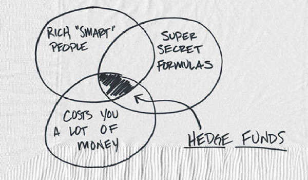 Image drawing out the three variables a hedge fund falls in the middle of